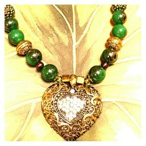 Evergreen Beaded Necklace & Heart Pendant